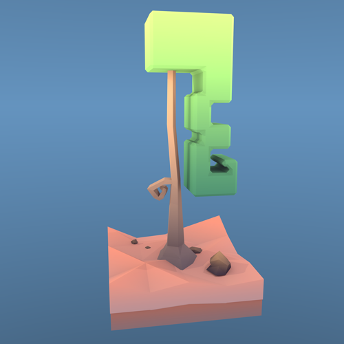 Low Poly  Locken-Baum