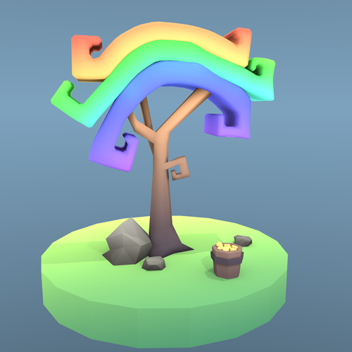 Low Poly Regenbogen-Baum